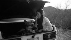 Car, girl, dog