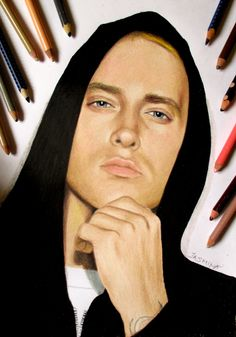 Eminem portrait in colored pencil by JasminaSusak.deviantart.com on @DeviantArt
