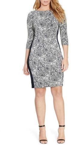 Lauren Ralph Lauren Chevron Print Jersey Sheath Dress (Plus Size)