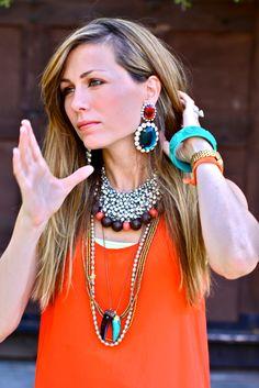 Big bold jewelry in layers