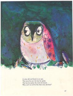 1964 Wise Owl  Childrens Book Illustration