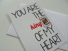 King of Hearts Card Funny Romantic Card Valentines Day Card for Him. $3.50, via…