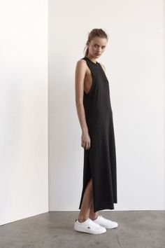 A look for minimalist- Black Slip Dress. Similar style available at SiiZU.