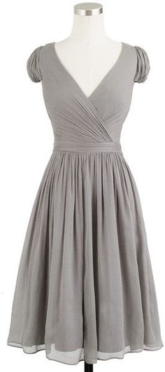 J.crew Mirabelle Dress in Silk Chiffon in Gray (graphite) - Lyst