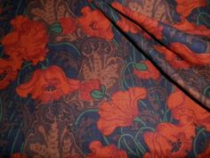 Vintage Liberty Linen Interiors Fabric Panel 'Clementina' Red Poppies Design | eBay