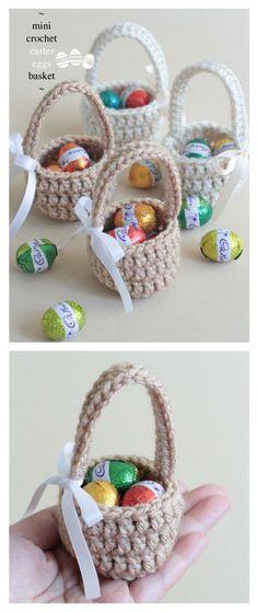 Ganchillo Mini huevos de Pascua Cesta Patrón gratuito