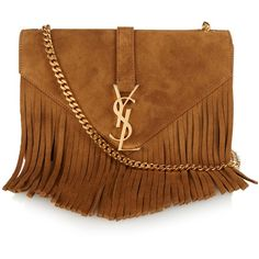 Saint Laurent Monogram fringed suede shoulder bag found on Polyvore featuring bags, handbags, shoulder bags, tan, yves saint laurent handbags, brown purse, suede handbags, brown handbags and monogrammed purses