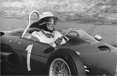 Phil Hill at the wheel of a Ferrari on the way to a third-place finish in the Dutch Grand Prix, 1962.