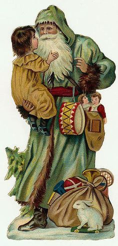 Traditional Green Father Christmas stands with child in arms Source: Vintage Images