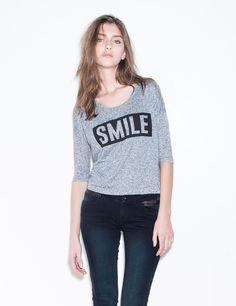 Tee-shirt smile gris bleuté - Jennyfer e-shop