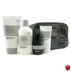 Anthony Logistics For Men The Perfect Shave Kit: Cleanser + Pre-Shave Oil + Shave Cream + After Shave Cream + Bag 4pcs+1bag #Anthony #MenSkinCare #LogisticsForMen #MensGift #FREEShipping #StrawberryNET