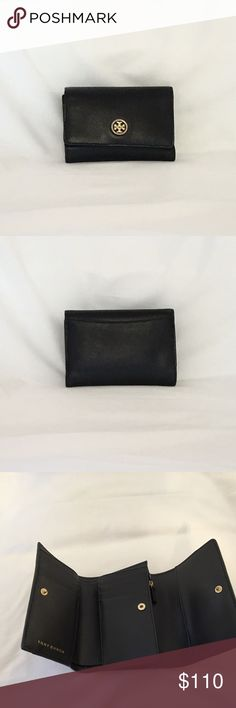 Tory Burch Robinson Medium Flap Wallet Pre-loves, Saffiano leather trifold wallet with gold hardware. Tory Burch Bags Wallets