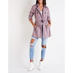 Add a classy touch to any look with this double breasted plaid trench coat. Double Breasted, Trench, Charlotte Russe, Classy, Plaid, Coat, Jackets, Fashion, Down Jackets