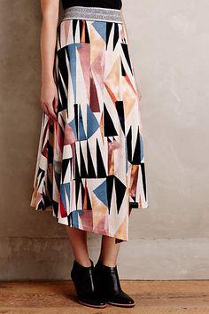 Marini Wrap Skirt - anthropologie.com.  Love the print, not the asymmetrical hem so much.