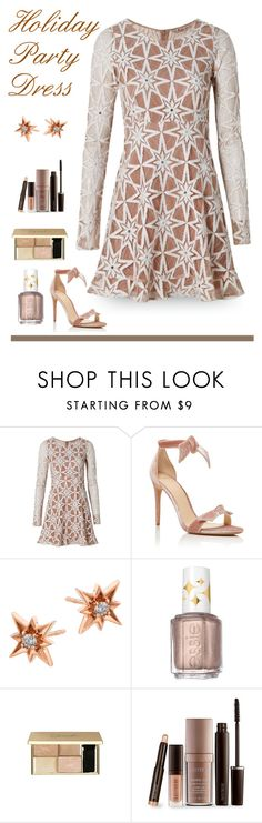 """""""Star Bright"""" by patricia-dimmick ❤ liked on Polyvore featuring For Love & Lemons, Alexandre Birman, Madyha Farooqui, Essie, Laura Mercier, stars, lacedress, longsleeve and holidadress"""