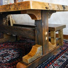Rustic Trestle Dining Table   Foter