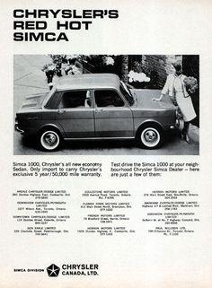 1965 Chrysler Simca 1000 Sedan original vintage advertisement. Simca 1000, Chrysler's all new economy Sedan. Imported by Chrysler of Canada.