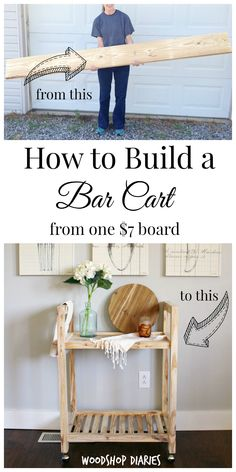 DIY Bar Cart from a Single Board & More Challenge!} How to build an adorable DIY bar cart from a single board of construction lumber for the and more challenge. Includes video and picture tutorial Diy Furniture Projects, Bar Furniture, Diy Wood Projects, Furniture Storage, Diy Furniture For Beginners, Bathroom Furniture, Diy Projects For Home, Easy Small Wood Projects, Furniture Cleaning