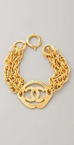 WGACA Vintage Vintage Chanel Etched CC Bracelet