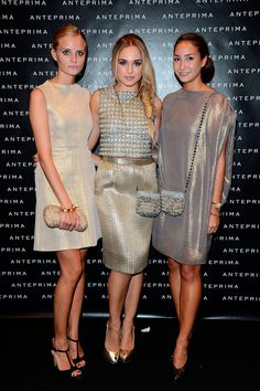 Dominique Eijsberg, Emanuela Postacchini y Brigitte Burger Milan Fashion Week