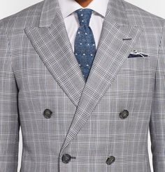 HackettGrey Double-Breasted Prince of Wales Checked Wool Suit