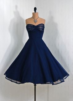 vintage navy blue dress