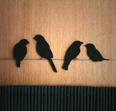 Birds On A Wire Foot Tattoo Birds of of a feathers tattoo tattoo black birds tattoo birds wire Bird Template, Desenho Tattoo, Little Birdie, Bird Silhouette, Felt Birds, Small Birds, Black Felt, Foot Tattoos, Tatoos