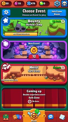 Brawl Stars is an online 3 v 3 mini MOBA from Supercell where I am the Creative Lead! V Games, News Games, Games For Kids, Game Gui, Game Icon, Gui Interface, Game Ui Design, Game Props, Game Concept