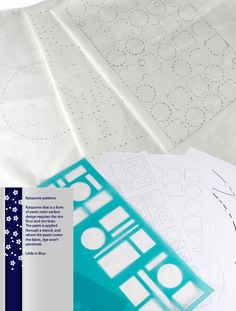 Katazome that is a form of paste resist surface design requires the rice flour and rice bran. The paste is applied through a stencil, and where the paste covers the fabric, dye won't penetrate. (Little m Blue)