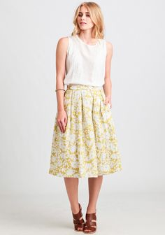 Tranquility Floral Midi Skirt