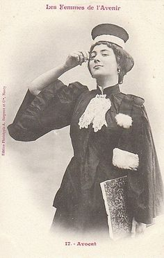"""From a collection of French photos in 1902, """"Women of the Future"""". She's a lawyer, by the way."""