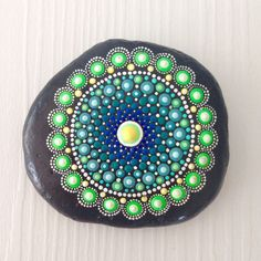 Big Dot Art Mandala Painted Stone Fairy Garden Gift  Decoration Painted rock Beachstone