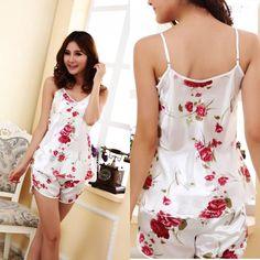 5240525b77 2018 New Women Sexy Flower Sleepwear Braces Shirts+Shorts Underwear Robes  Set HOT SALES Lounge