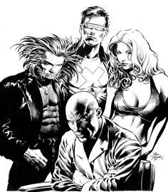 Wolverine, Charles Xavier, Scott Summers and Jean Grey by Mike Deodato Jr.