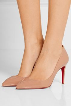 Heel measures approximately 85mm/ 3.5 inches Beige patent-leather Slip on Made in Italy Sergio Rossi, Louboutin Pigalle, Louboutin Shoes, Louboutin Online, Silver Block Heel Sandals, Comfortable Dress Shoes, Cowboy Shoes, Nagellack Design, Christian Louboutin Outlet