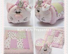 kit travesseiro e manta de gatinha