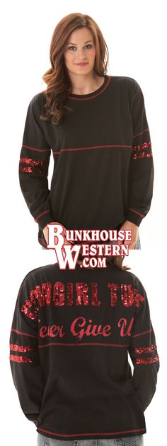 Cowgirl Tuff Company, Black Jersey Tee, Red Sequins, Never Give Up, Game Day Tee, Go Big Red, Rodeo, Nebraska Corn Huskers, Country Girl, Horse Lover, $49.99, http://bunkhousewestern.com/H388