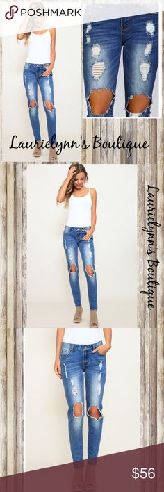 Coming Soon! Denim mid rise skinny jeans Denim mid-rise destroyed skinny jeans. Featuring rough leg opening hemming.  for easy cuffing. Stretchy with five pocket design with rivets. 98% Cotton 2% spandex. Measurements available upon request. Laurielynn's Boutique Jeans Skinny