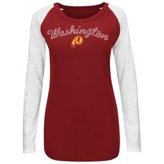 Women's Washington Redskins '47 Burgundy On the Fifty Super Bowl XVII Champion Scoop Neck Long Sleeve T-Shirt