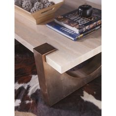 The Impresario Rectangular Cocktail Table features a travertine stone top and warm silver mahogany base. Unique Coffee Table, Coffee Table Design, Silver Side Table, White Side Tables, Pedestal Side Table, Carpenter Work, Lexington Home, Square Side Table, Artists