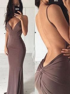 Sexy V Neck Mermaid Backless Long Evening Dress