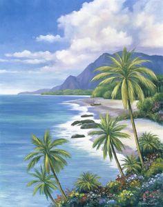 Great Art Now - Tropical Paradise II by John Zaccheo Canvas Wall Art Beach Mural, Beach Art, Tropical Art, Tropical Paradise, Tropical Paintings, Tropical Beaches, Image Nature, Caribbean Art, Hawaiian Art