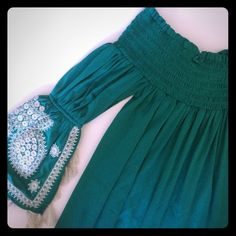 Teal Summer dress! NWOT! Excellent condition. The sleeves are gorgeous!! Modeled by my mom! Boston Proper Dresses
