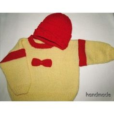 Svetr dětský  a čepice ručně pletený, žlutý, vel. 1 - 2 roky