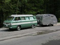 1962 Corvair Greenbrier camper van with a Travel Equipment Corporation Travel Top towing a 1961 13' Front Kitchen trailer