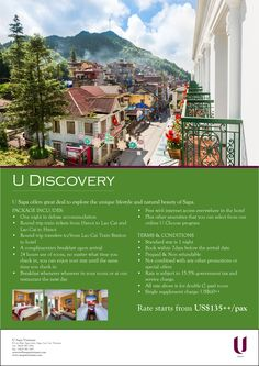 U Discovery U Sapa offers great deal to explore the unique lifestyle and natural beauty of Sapa, rate stars from US$135++ PP. Package include one night in deluxe accommodation, round trip train tickets from Hanoi to Lao Cai and Lao Cai to Hanoi, round trip transfers to/from Lao Cai Train Station to hotel and so on