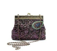 Antique gold peacock feather vintage inspired wedding handbag B066, £45.00
