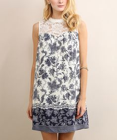Love this Night Wind Floral Lace-Yoke Shift Dress on #zulily! #zulilyfinds