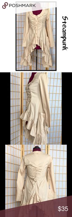"""Elegant Steampunk Waistcoat Variable length. Shortest point is 17"""" in front, 39"""" long at sides and 26"""" in back. The sleeves are 25"""" long from shoulder.  Covered buttons. Never worn. Lydia USA Jackets & Coats"""