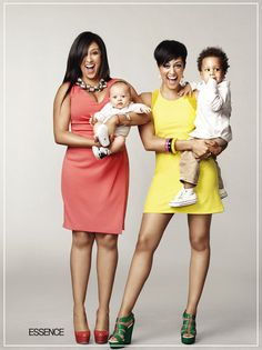 Tia & Tamera with their adorable sons Aiden and Cree. (Essence Mag | April 2013).